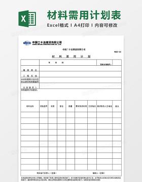 物资管理常用表格