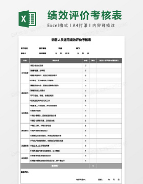 销售人员通用绩效评价考核表excel表格模板