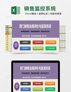 部门销售业绩评价与监测系统excel表格
