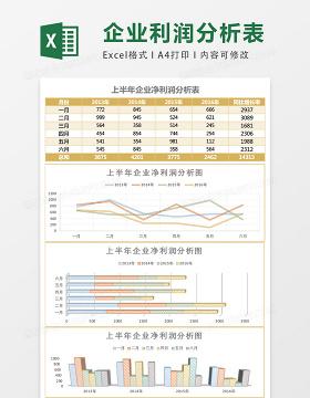 简约上半年企业净利润分析表Excel模板表格
