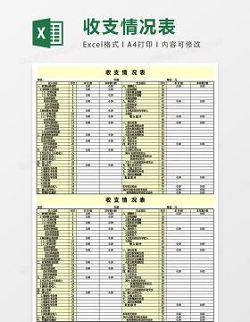 收支情况表格模板excel表格模板