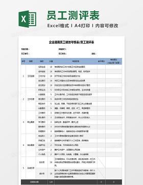 企业通用员工绩效考核表员工测评Excel表格