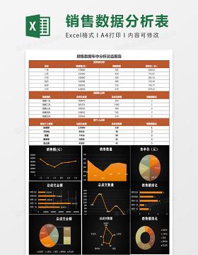 销售数据年中分析表excel模板表格