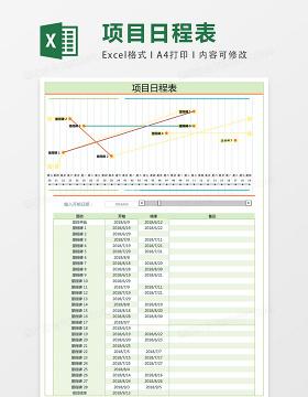 项目日程表excel表格模板