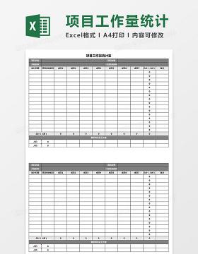 项目工作量统计表Excel模板