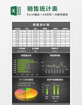 黑色立体销售统计表excel模板