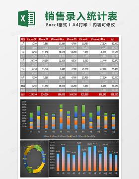 销售团队销售录入统计表Excel模板