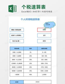 个人所得税速算表excel表格模板