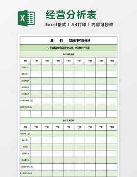 月经营数据分析excel表格