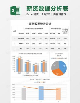 简约薪酬数据统计分析表excel模板