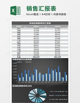 蓝色地区销售数据对比excel表格模板