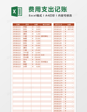 个人月度费用支出记账Excel表格