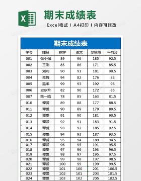 期末成绩表Excel表格