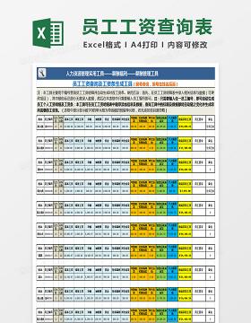 员工工资查询及工资条生成工具Excel表格