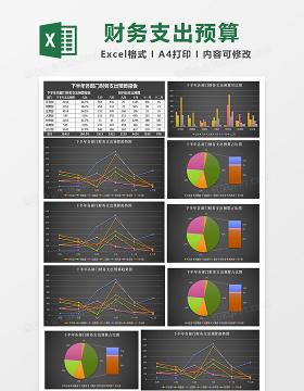 下半年各部门财务支出预算表Excel模板