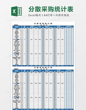 分散采购统计表excel表格模板