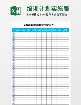 年度培训计划及实施统计表Excel表格