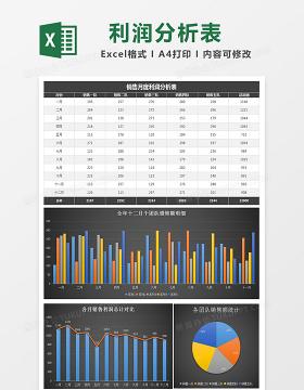 黑色全年月销售额统计分析表excel模板