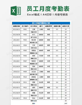 月度考勤统计表Excel表格