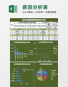 综合管理部薪资分析表excel表格模板