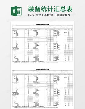 初中教育技术装备统计汇总表Excel模板