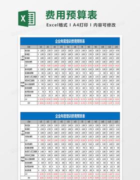 企业年度培训费用预算表EXCEL表格