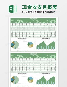 绿色简约现金收支月报表Excel图表模板