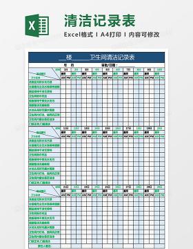 卫生间、宿舍楼、厂区清洁记录表
