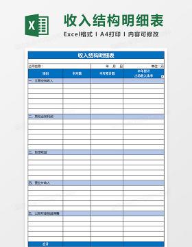 公司财务收入结构明细表excel表格
