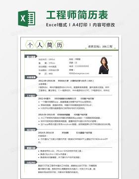 现代简约IOS工程师Excel简历表格模板