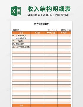 收入结构明细表Excel模板