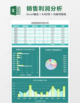雾面商品销售利润分析excel模板