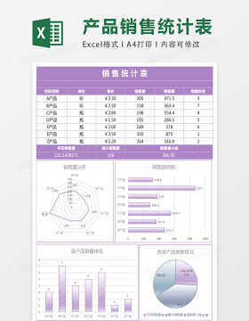紫色镜面发光销售统计表excel模板