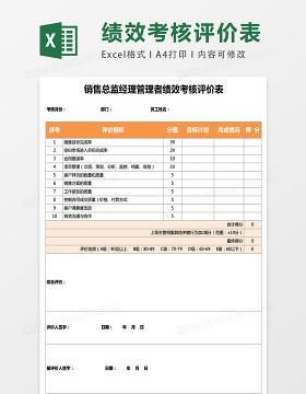 销售总监经理管理者绩效考核评价表excel表格模板