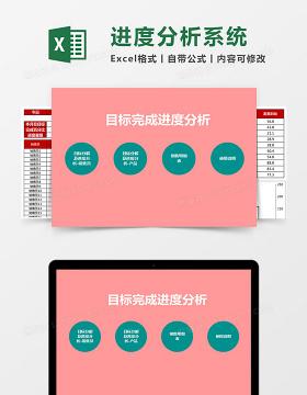 目标完成进度分析Excel管理系统