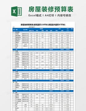 房屋装修预算表