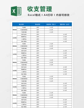 蓝色主题财务收支管理系统Excel模板