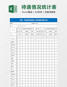 机关事业单位离退休人员待遇情况统计表Excel模板