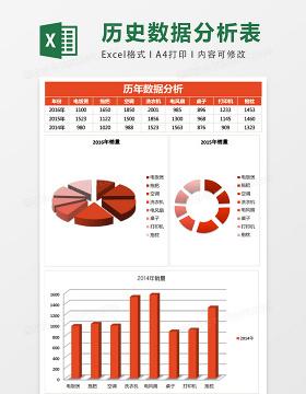 简约历年数据分析excel模板表格