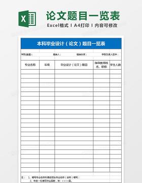 学院本科毕业设计论文题目一览表Excel表格