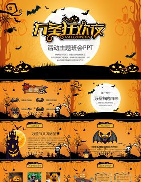 卡通创意风疯狂万圣节介绍PPT模板