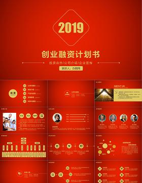 2019红金色大气商业计划书PPT模板