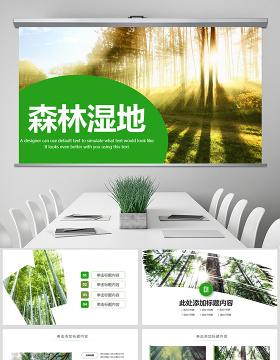 原创湿地森林植树节湿地森林日植树造林PPT模板-版权可商用