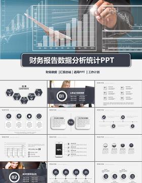 白灰色财务报告财务数据分析统计案例分析PPT模板幻灯片下载
