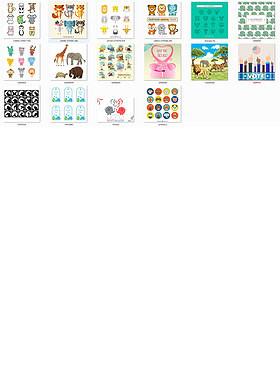 卡通大象动物设计矢量可编辑45款合集