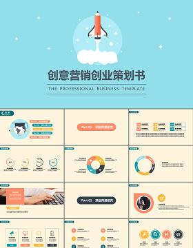 蓝色创意营销创业策划书ppt模板幻灯片