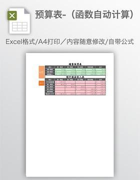 预算表-(函数自动计算)