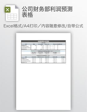 公司财务部利润预测表格