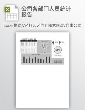 公司各部门人员统计报告