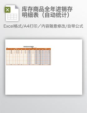 库存商品全年进销存明细表(自动统计)